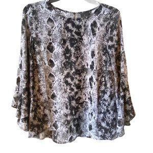 Worthington snakeskin bell sleeve blouse
